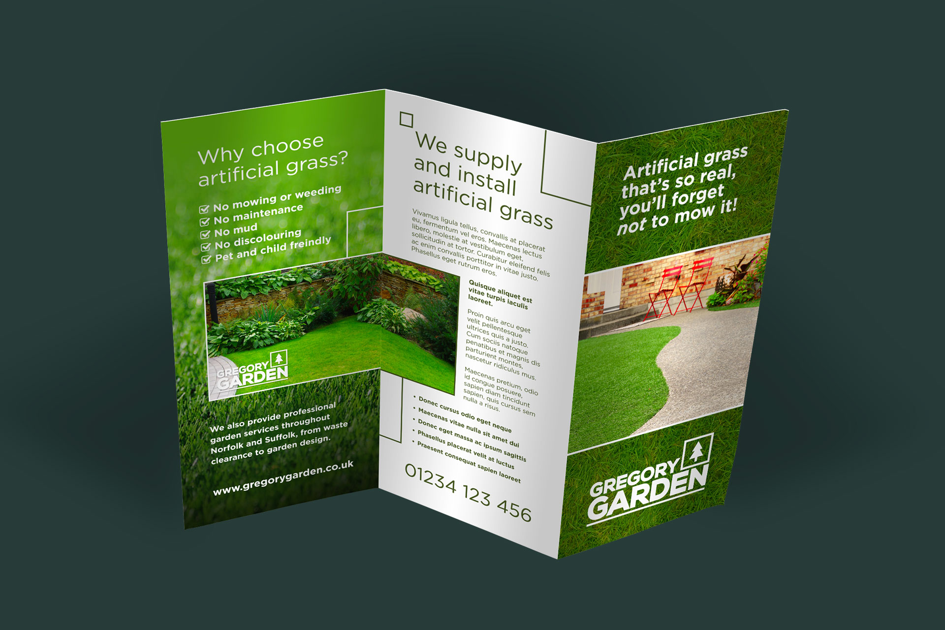 Leaflet design graphic design and printing norwich for Garden design company